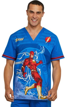 Tooniforms by Cherokee Men's V-Neck DC Comics Print Scrub Top