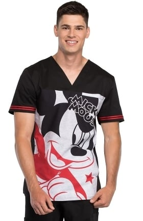 Clearance Tooniforms by Cherokee Men's V-Neck Mickey Mouse Print Scrub Top