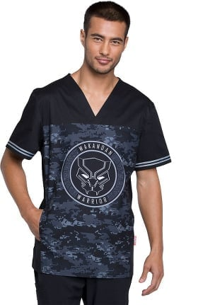 Tooniforms by Cherokee Men's V-Neck BlackPanther Print Scrub Top