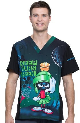 Tooniforms by Cherokee Men's V-Neck Keep Mars Green Print Scrub Top