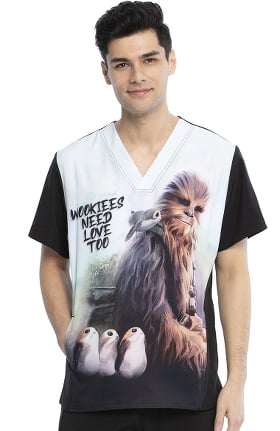 Tooniforms by Cherokee Men's Chewie Print Scrub Top