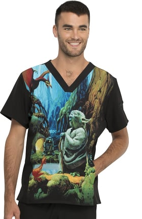 Tooniforms by Cherokee Men's Jedi Master I Am Print Scrub Top