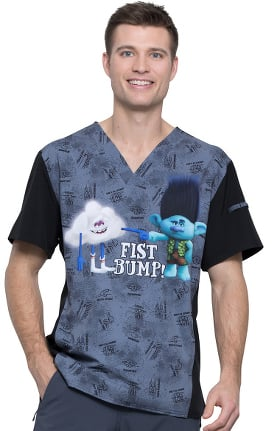 Tooniforms by Cherokee Men's V-Neck Fist Bump Club Print Scrub Top