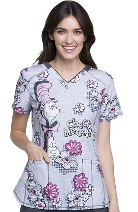 Tooniforms by Cherokee Women's V-Neck Dr. Seuss Print Scrub Top
