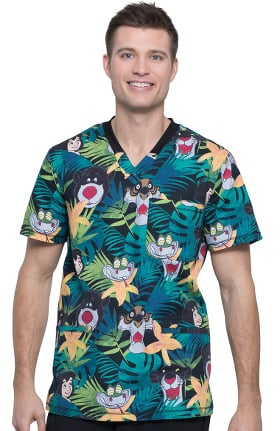Clearance Tooniforms by Cherokee Men's V-Neck Bungle In The Jungle Print Scrub Top