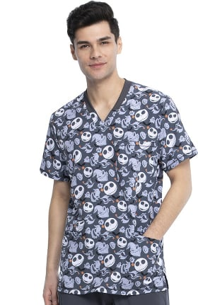 Tooniforms by Cherokee Men's Boogie With Jack Print Scrub Top
