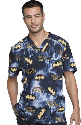 Tooniforms by Cherokee Unisex V-Neck Batman Print Scrub Top