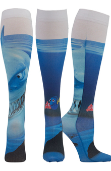 Tooniforms by Cherokee Women's Knee High 8-15 Mmhg Chomp Chomp Print Compression Sock