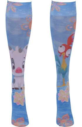Footwear by Cherokee 8-15 Mmhg Hei Hei & Pua Print Compression Sock