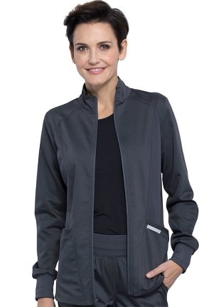 Revolution by Cherokee Workwear Women's Hi-Low Solid Scrub Jacket