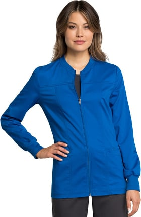 Revolution Tech by Cherokee Workwear Women's Zip Front Solid Scrub Jacket