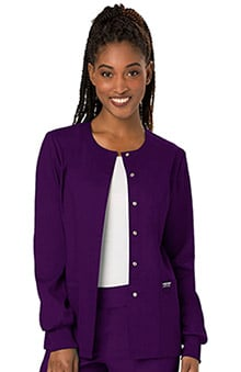 Revolution by Cherokee Workwear Women's Snap Front Solid Scrub Jacket