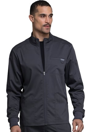 Revolution by Cherokee Workwear Men's Zip Up Solid Scrub Jacket