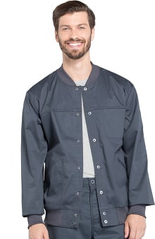 Core Stretch by Cherokee Workwear Men's Snap Front Solid Scrub Jacket
