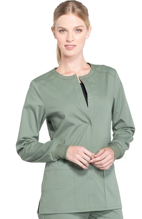 Professionals by Cherokee Workwear Women's Snap Front Warm-Up Solid Scrub Jacket