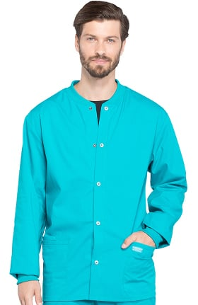 Professionals by Cherokee Workwear Men's Snap Front Warm-Up Solid Scrub Jacket