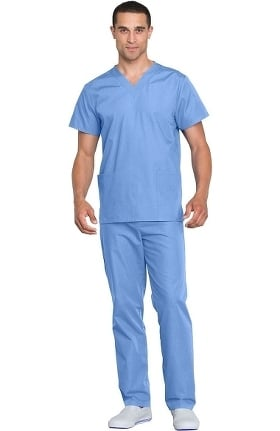 Cherokee Workwear Originals Unisex V-Neck Solid Scrub Top & Drawstring Scrub Pant Set