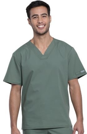 Professionals by Cherokee Workwear Unisex Pocketless V-Neck Solid Scrub Top