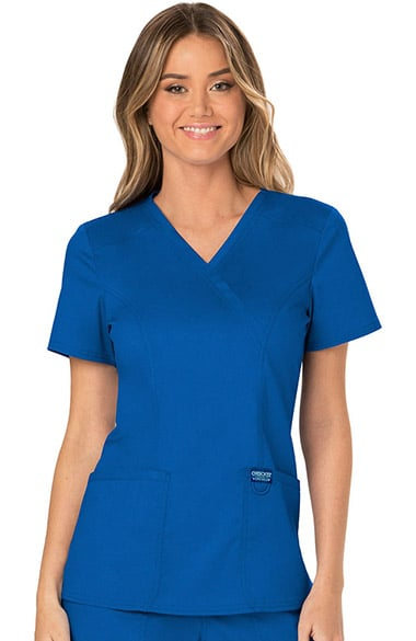 26dd21caa34 Revolution by Cherokee Workwear Women's Mock Wrap Solid Scrub Top ...