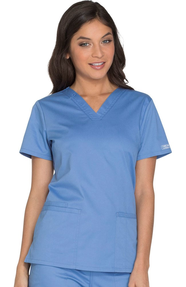 5b55754e4f3 Core Stretch by Cherokee Workwear Women's V-Neck Solid Scrub Top