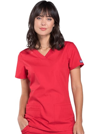 Cherokee Workwear Originals Women's Knit V-Neck Solid Scrub Top