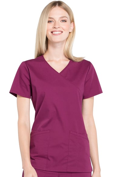 5563e0f61d7 Professionals by Cherokee Workwear Women's Mock Wrap Solid Scrub Top | allh