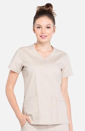 Professionals by Cherokee Workwear Women's Mock Wrap Solid Scrub Top