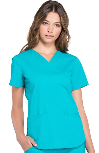 7732c8a5801a Professionals by Cherokee Workwear Women s V-Neck Solid Scrub Top ...