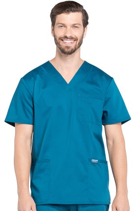 Revolution by Cherokee Workwear Men's V-Neck Utility Solid Scrub Top