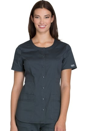 Clearance Core Stretch by Cherokee Workwear Women's Round Neck Solid Scrub Top