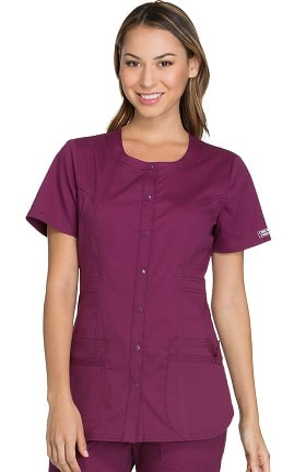 a6d1f0840a3 Clearance Core Stretch by Cherokee Workwear Women's Round Neck Solid Scrub  Top