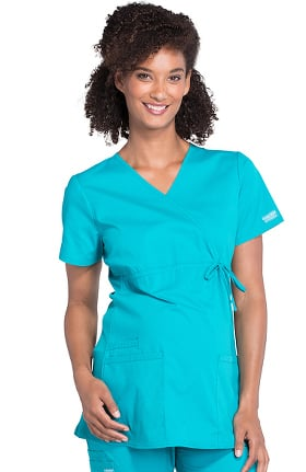 Professionals by Cherokee Workwear Women's Maternity Mock Wrap Soft Knit Panel Solid Scrub Top