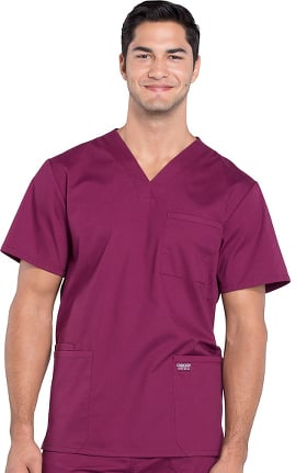 Professionals by Cherokee Workwear Men's V-Neck Utility Solid Scrub Top