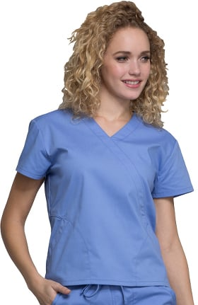 Professionals by Cherokee Workwear Women's Mock Wrap Solid Scrub Top