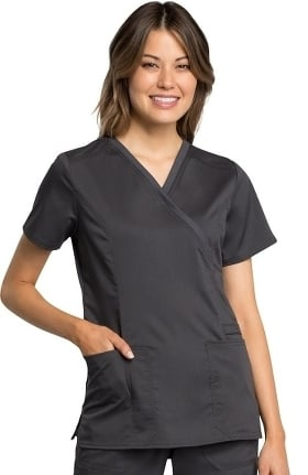 Revolution Tech by Cherokee Workwear Women's Mock Wrap Solid Scrub Top