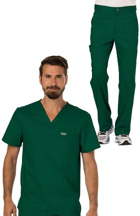 Revolution by Cherokee Workwear Men's V-Neck Solid Scrub Top & Zip Fly Cargo Scrub Pant Set