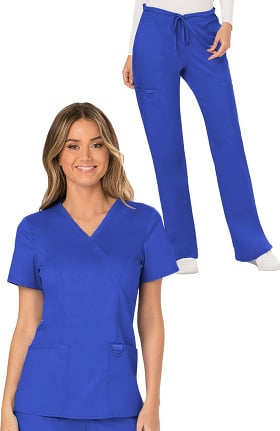 Revolution by Cherokee Workwear Women's Mock Wrap Solid Scrub Top & Drawstring Flare Scrub