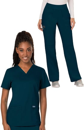 Revolution by Cherokee Workwear Women's V-Neck Solid Scrub Top & Elastic Waistband Scrub Pant