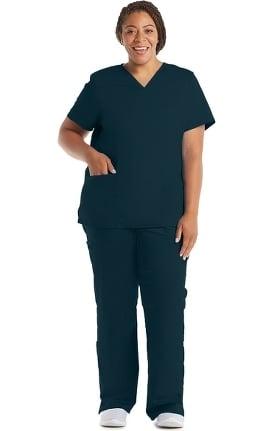 Revolution by Cherokee Workwear Women's V-Neck Solid Scrub Top & Elastic Waistband Scrub Pant