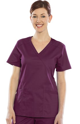 Durable Stretch by Crush Women's Baby Face Mock Wrap Scrub Top
