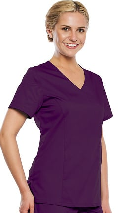 Premium Stretch Plus by crush Women's Countess Mock Wrap Solid Scrub Top