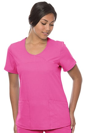 crush Women's Centerfold Fitted Mock Wrap Solid Scrub Top