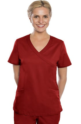 Premium Stretch Plus by crush Women's Duchess Mock Wrap Solid Scrub Top