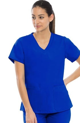 Performance Stretch by crush Women's Endurance Semi Fitted V-Neck Solid Scrub Top