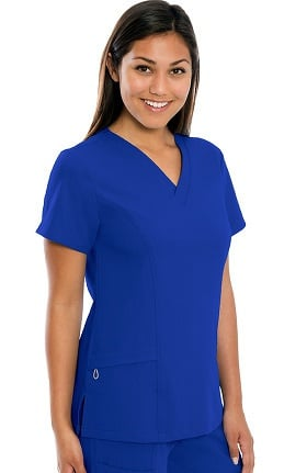 crush Women's Far Out Mock Wrap V-Neck Solid Scrub Top