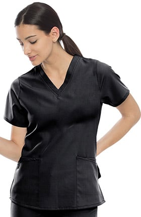 Performance Stretch by crush Women's Flexibility Fitted V-Neck Solid Scrub Top