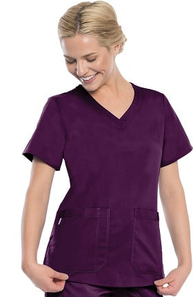 Premium Stretch by crush Women's Monarch Curved V-Neck Solid Scrub Top