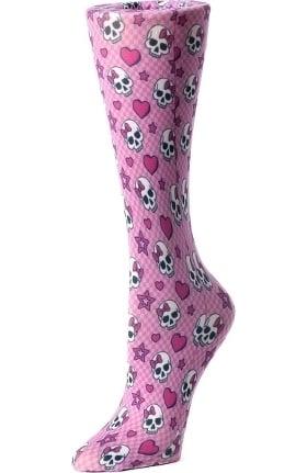 Cutieful Women's Nylon 8-15 mmHg Pink Skulls Print Compression Sock