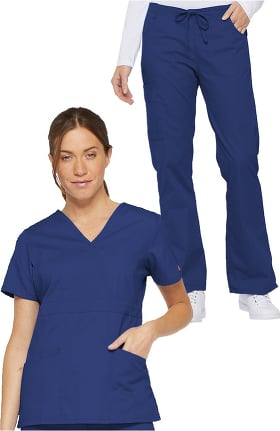 Everyday Scrubs Signature by Dickies Women's Mock Wrap Top & Drawstring Pant Scrub Set