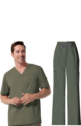 Gen Flex by Dickies Men's V-Neck Scrub Top & Cargo Scrub Pant Set